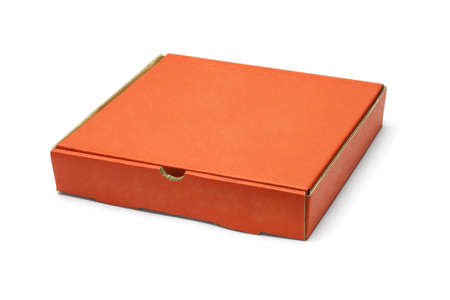 Orange color pizza takeaway box on white background photo
