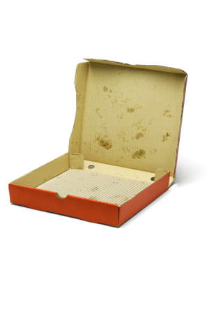 Open empty pizza delivery box on white background photo