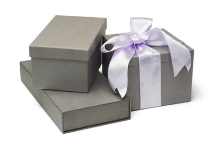 Collection of grey gift boxes on white background photo