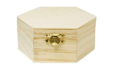 storage box: Wooden hexagonal shape storage box on white background