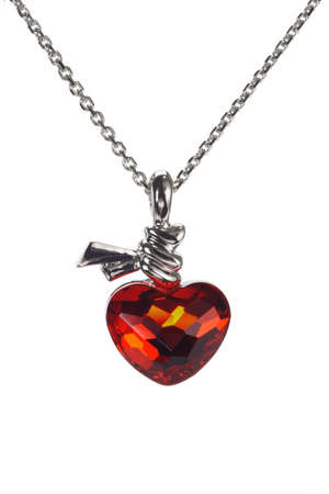 pendant: Red love heart shaped gemstone necklace on white background Stock Photo