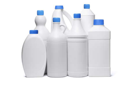 detergents: Assorted plastic containers for household detergents on white background