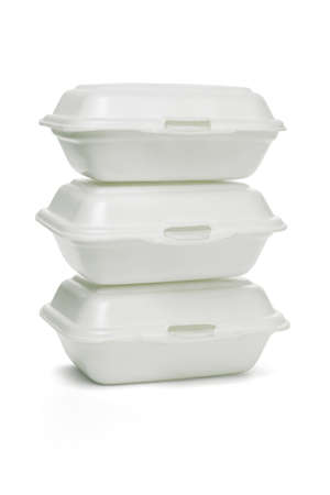 Stack of Styrofoam takeaway boxes on white background Stock Photo