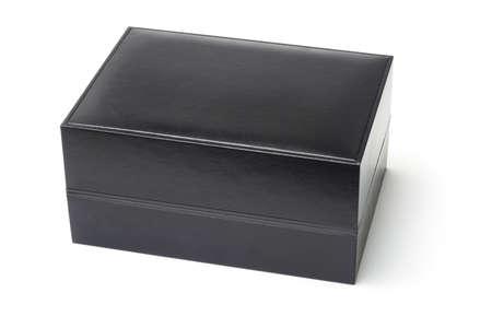 Black jewelry box isolated on white background photo