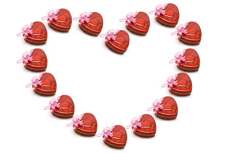 Heart shaped gift box of cookies or chocolates photo