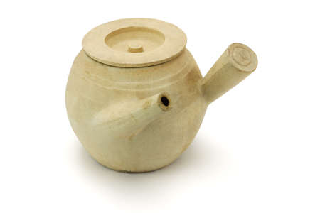 clay pot: Chinese clay pot for boiling herbs on white background