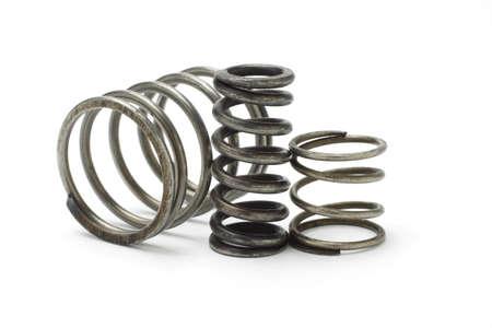Three metal spring coils on white background Stock Photo - 9766673
