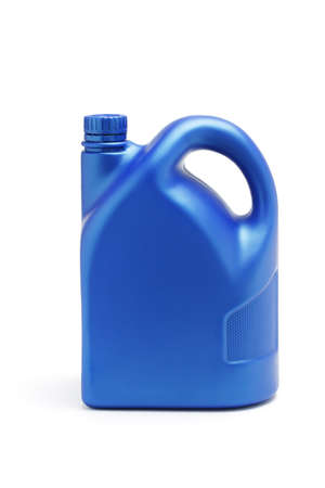 Plastic container of lubrication oil on white background photo