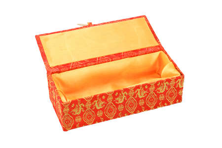 Empty red Chinese new year gift box with floral design on white background photo