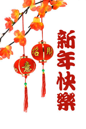 Chinese new year greetings and  lanterns with plum blossom on white background photo
