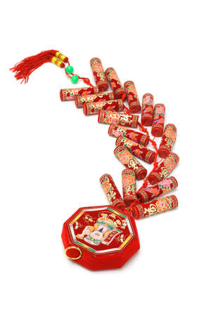 Chinese new year fire crackers ornament on white background photo