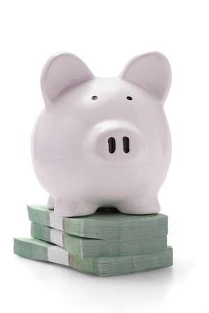 Piggy bank on stacks of money on white background photo