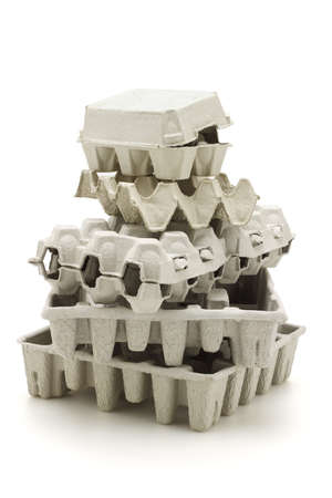 Stack of paper cartons for recycling on white background photo