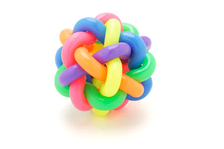 multicolor rubber rings ball on white background Stock Photo - 9766625