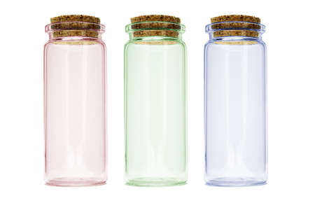Canister: Tall color glass containers arranged on white background Stock Photo
