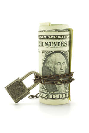 US dollars chained and locked on white background photo
