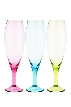 Three color wineglasses on white background photo