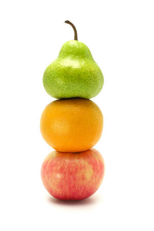 stack of apple, orange and pear on white background photo