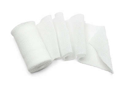 fold: White medical cotton gauze bandage on white background Stock Photo