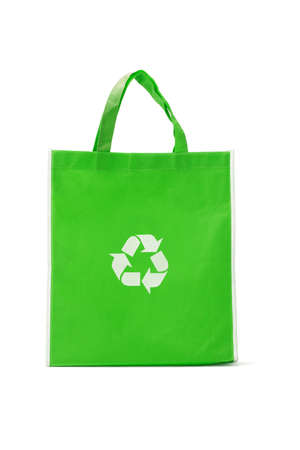 reciclable: Green reusable shopping bag with recycle symbol on white