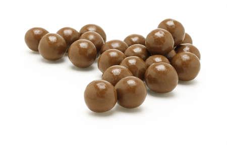 Dark brown Chocolate balls on white background Stock Photo - 9767538