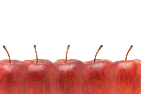 superimposed: Superimposed Red apples border with copy space on white background Stock Photo