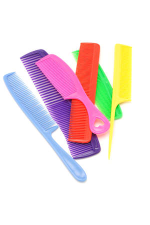 Assortment of colorful plastic combs on white background Stock Photo - 9767635