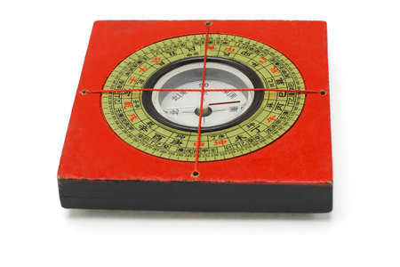 Chinese traditional red compass on white background photo