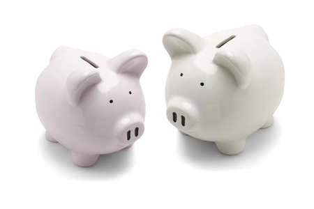 a pair: Pair of piggy banks on white abckground Stock Photo