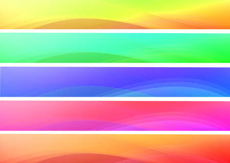 banner effect: Set of abstract multicolor waves web banners