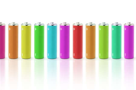 Multicolor batteries with reflections on what background photo