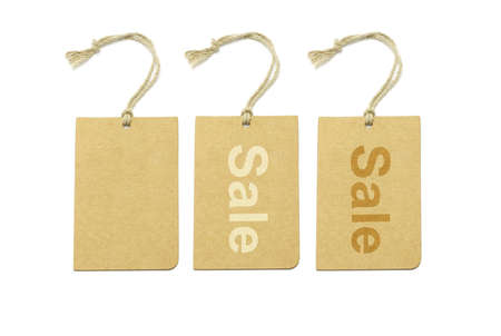 Brown labels with and without text on white background Stock Photo - 9766511