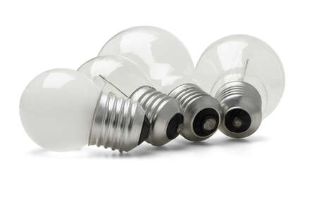 incandescence: Row of large and small electric light bulbs on white background