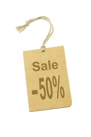 discount tag: 50% discount price label on white background Stock Photo