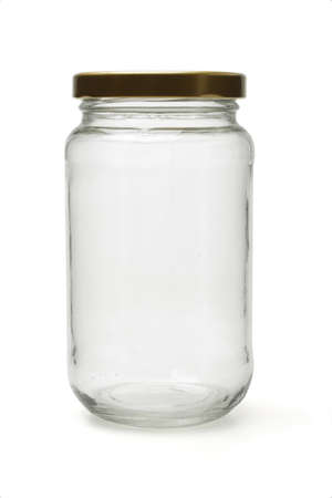 lid: Empty glass bottle standing on white background