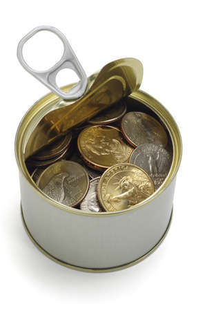 US coins in open tin can on white background Stock Photo - 9768438