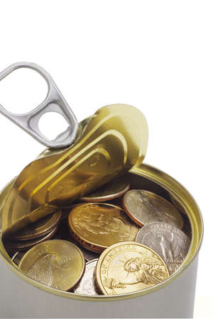 Close up of US coins in open tin can Stock Photo - 9766425