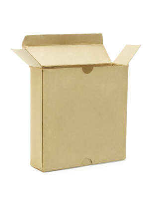 Open brown paper box on white background photo