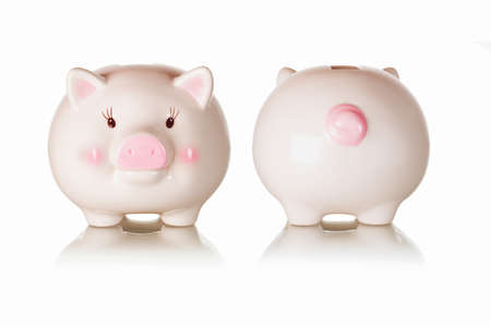 frontal views: Frontal and rear views of piggybank with reflections on white background Stock Photo