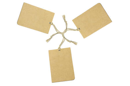 Three brown tags arranged on white background Stock Photo - 9766470