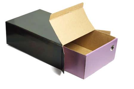 Open empty shoe box on white background photo