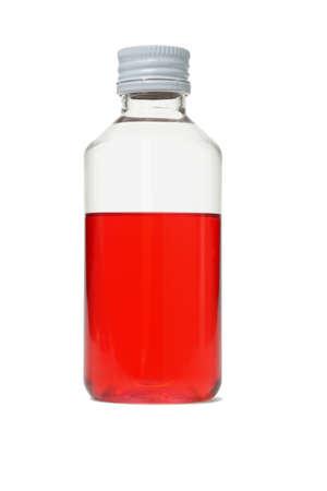 mouthwash: Oral hygiene  bottle of red mouthwash on white background