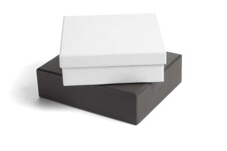 gift packs: Black and white gift boxes on isolated background Stock Photo