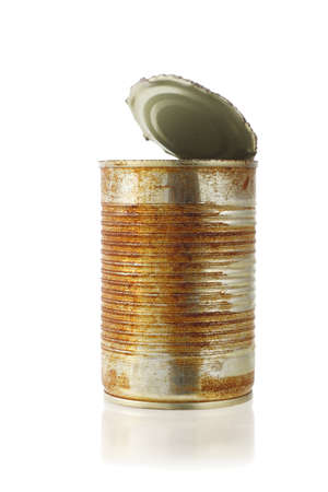open rusty tin can on white background photo