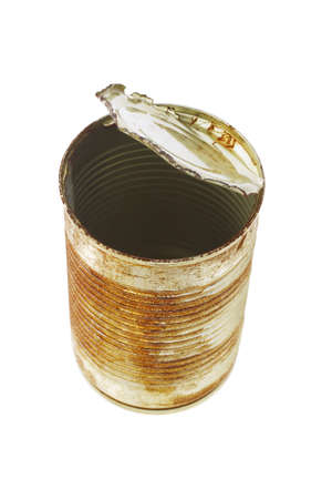 Top view of open rusty tin can on white background Stock Photo - 9853589