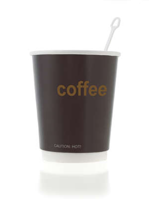 stirrer: Disposable paper coffee cup with stirrer on white background