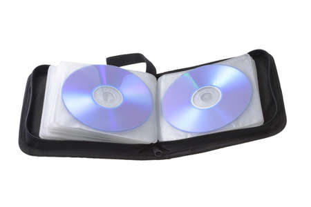 Open compact disk storage bag on white background photo