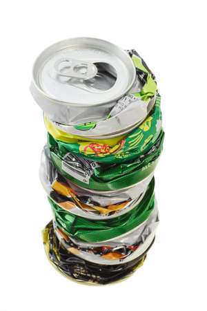 crushed cans: Stack of crushed cans ready for recycling on white background