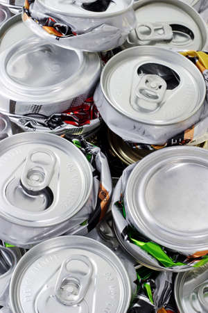 crushed cans: Aassorted aluminum crushed cans for recycling