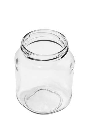unlabelled: Open empty glass container on white background